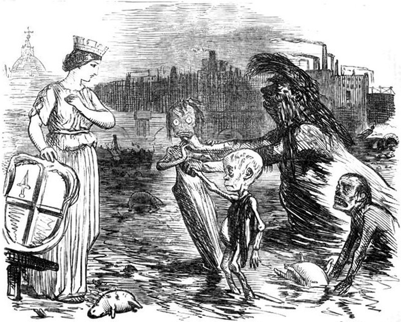 Father Thames Introducing His Offspring to the Fair City of London by John Leech, 1858