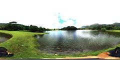 A view from the lake at Ho'omaluhia Botanical Garden in Kaneohe,  O'ahu. Hawai'i -a 360° Equirectangular VR