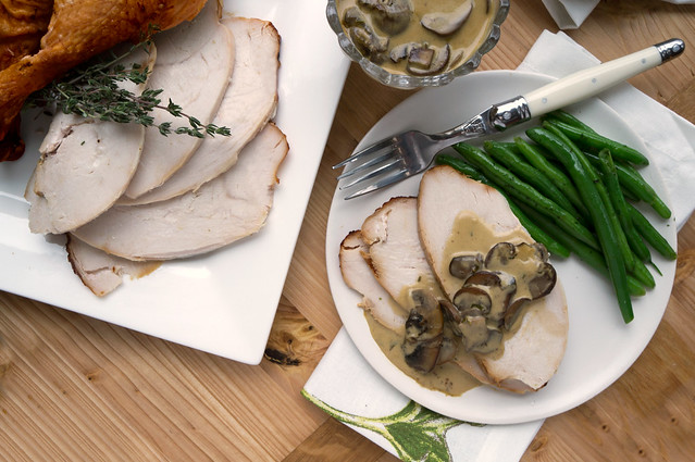 Roasted Capon with Mushroom-Cognac Sauce