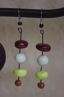 Artsy Porcelain Bead Dangle Earring Set E - 0168