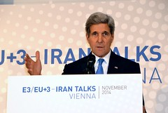 U.S. Secretary of State John Kerry addresses the international media in Vienna, Austria, on November 24, 2014, following P5+1 and European Union-nation negotiations with Iran about the future of its nuclear program. [State Department photo/ Public Domain]