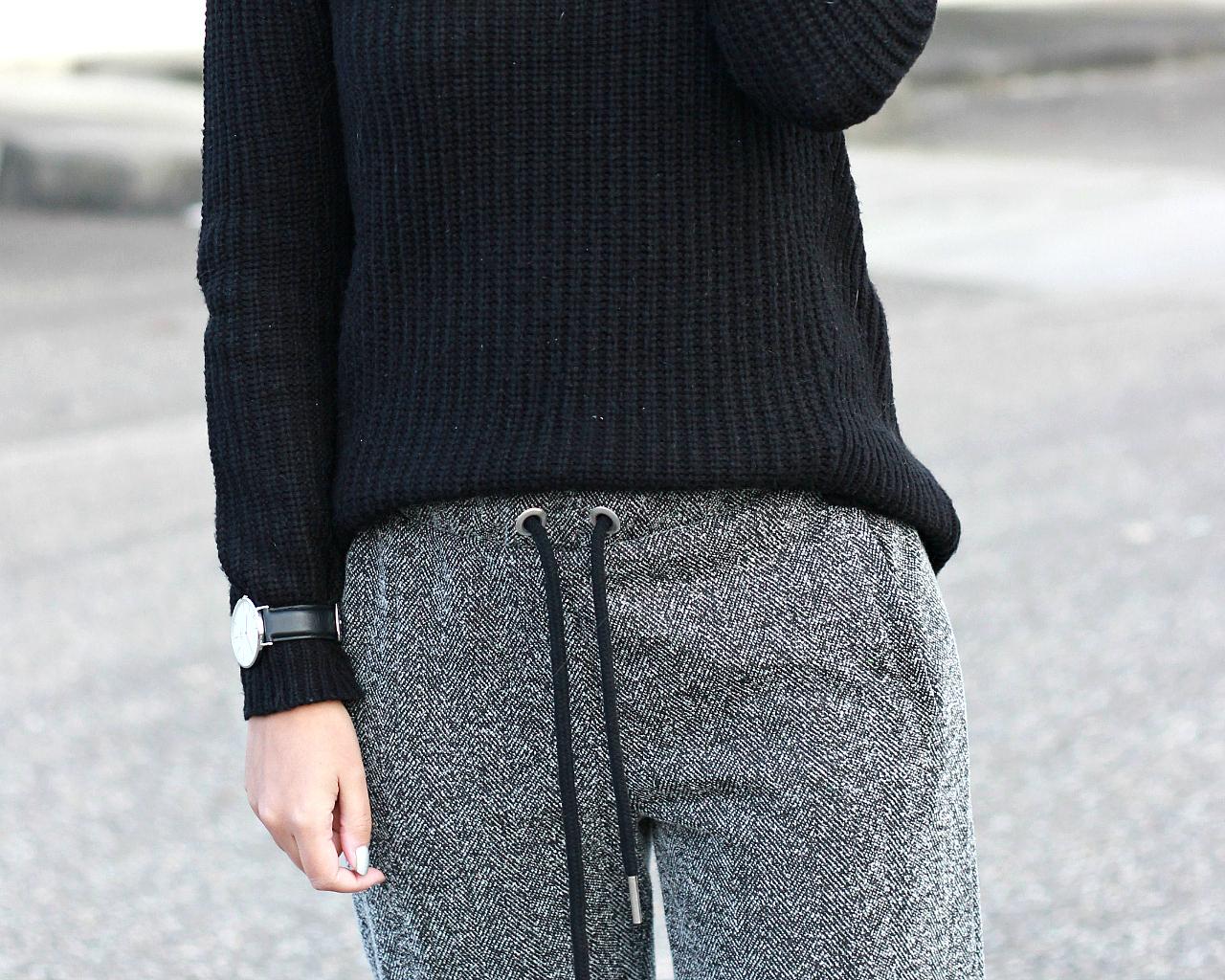 Daniel Wellington watch, tweed sweatpants, zara black sweater