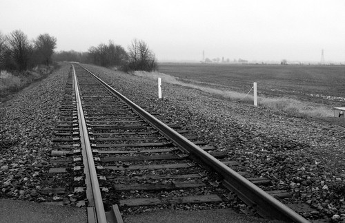 358/365 Black and White Railroad Tracks