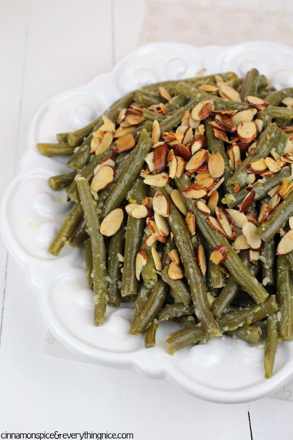 Parmesan Garlic Green Bean Almondine #sides