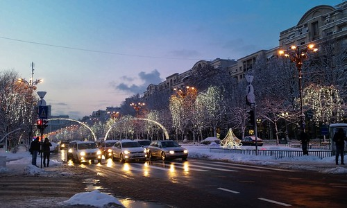 sunset streetlights newyear christmaslights romania newyearseve bucharest silvester happynewyear nouvelleannee 2015 neuesjahr winterdecorations