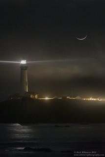 Spotlight on Mars: Crescent Moon Venus and Mars at Pigeon Point Lighthouse