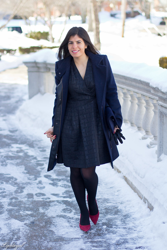 little black dress, navy coat, red pumps.jpg