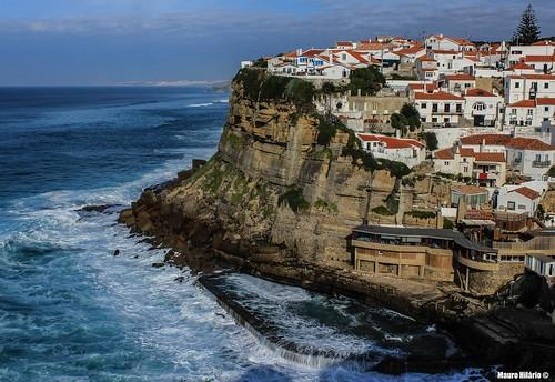 ocean blue houses sea cliff portugal coast town waves village atlantic