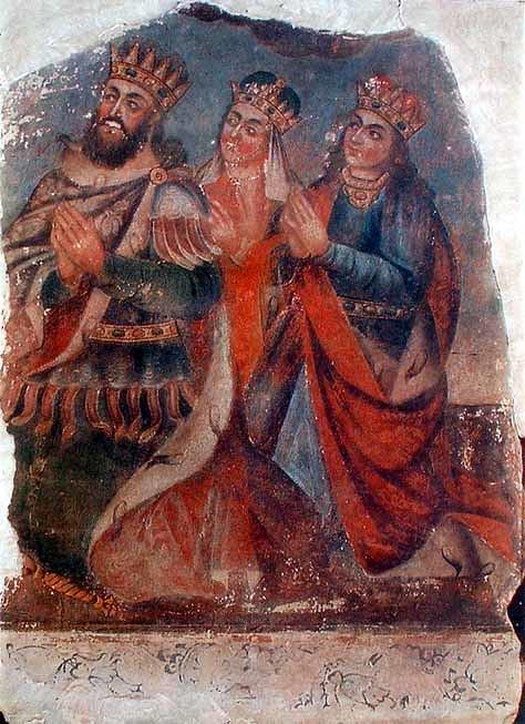Tiridates III with his wife Ashkhen and sister Khosrovidukht by Naghash Hovnatan
