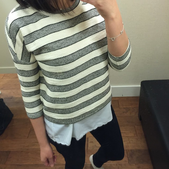 LOFT Tweed Stripe Sweatshirt, size XXSP