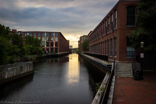 brick mill river evening unitedstates massachusetts newengland historic textiles lowell
