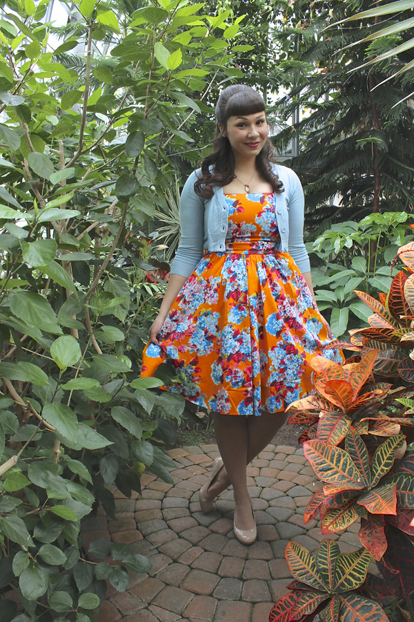 lady vintage orange eliza dress