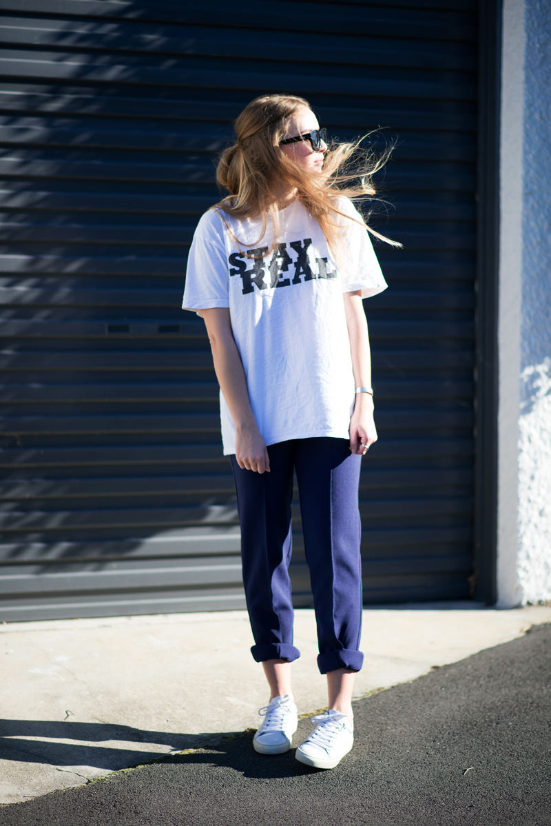 Stolen Inspiration | Kendra Alexandra | Fashion Blogger | Brashy Coutour Tee, Le Specs Runaways Sunglasses, Hybrid Trousers, Topshop Sneakers