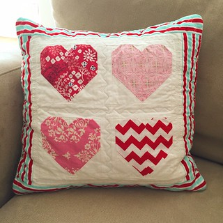 Finished Candy Hearts pillow