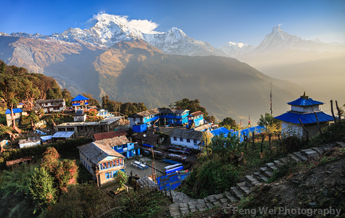 travel nepal panorama color beautiful horizontal sunrise landscape dawn colorful asia village outdoor scenic peaceful serene annapurnacircuit annapurna himalayas breathtaking tadapani annapurnasouth bagmati annapurnaconservationarea ghanruk