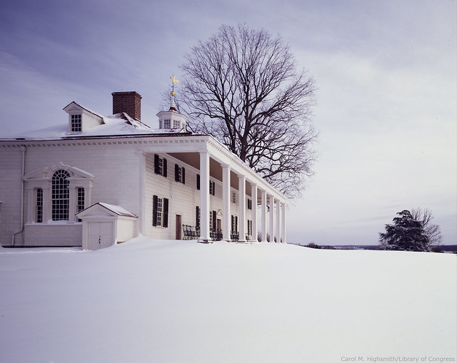 Snowy day at George Washington's Mount Vernon in Virginia