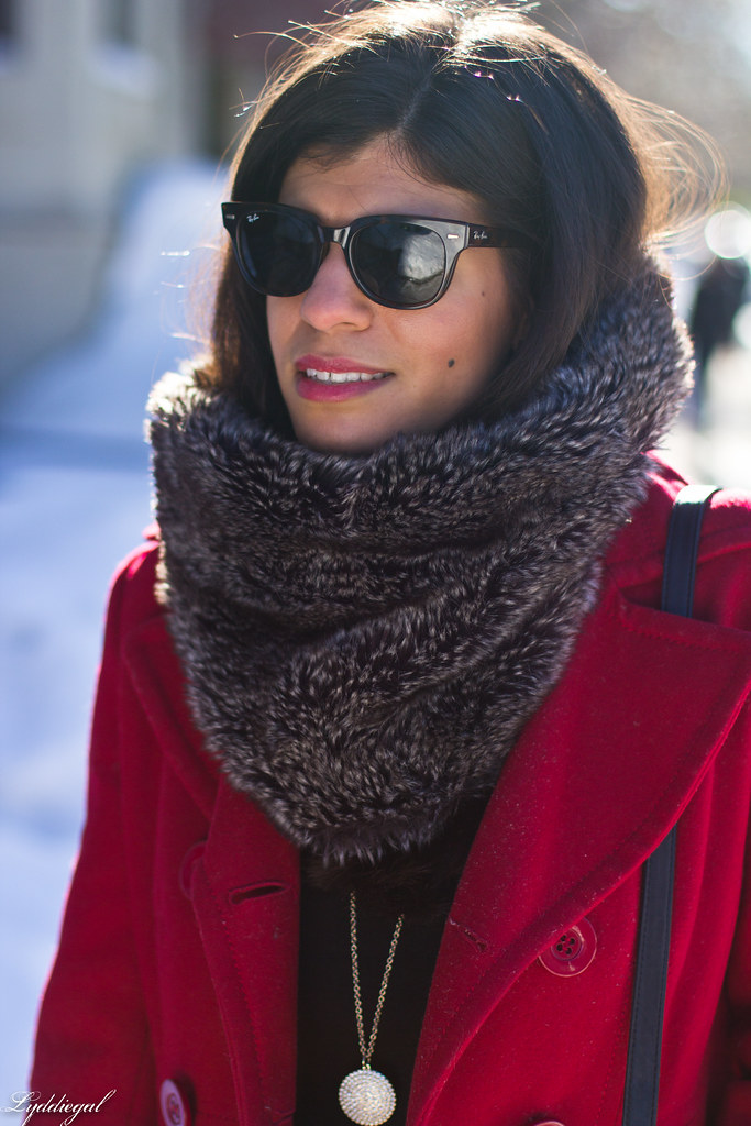 red peacoat, furry cowl, distressed jeans-1.jpg