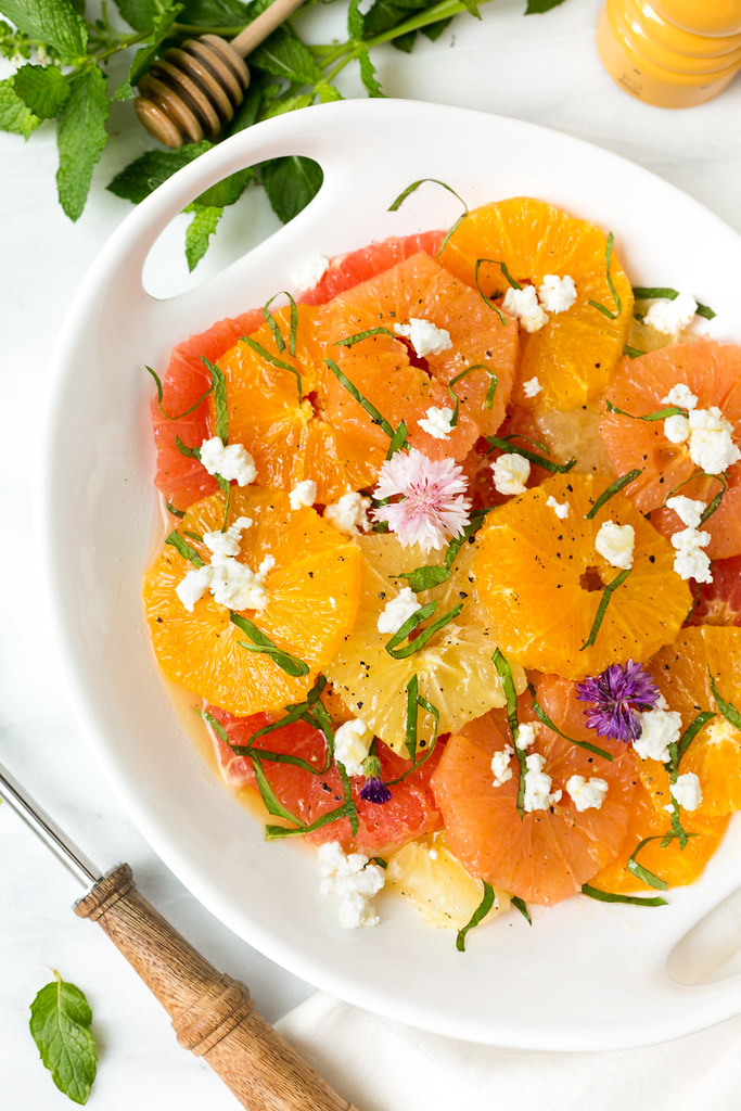 mixed citrus salad with herbs and goat cheese