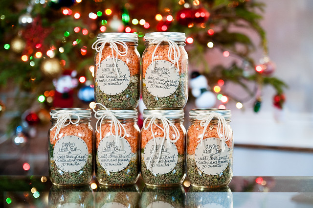 mason jar gift - curried lentil soup