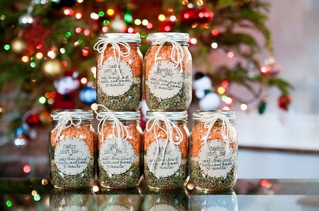 mason jar gift - curried lentil soup