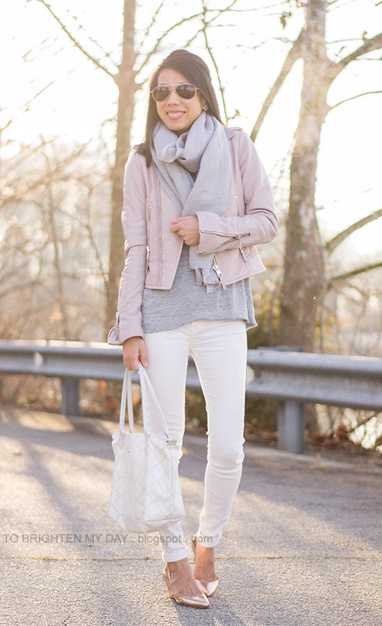 gray scarf, lilac pink leather jacket, gray top, white jeans, metallic rose wedges