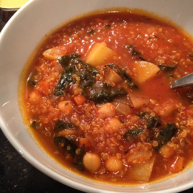 Potato, kale and tomato soup with quinoa #vegan Recipe at www.good-good-things.com