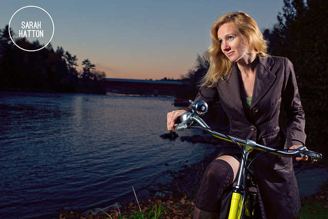 Sarah Hatton on bicycle sunset