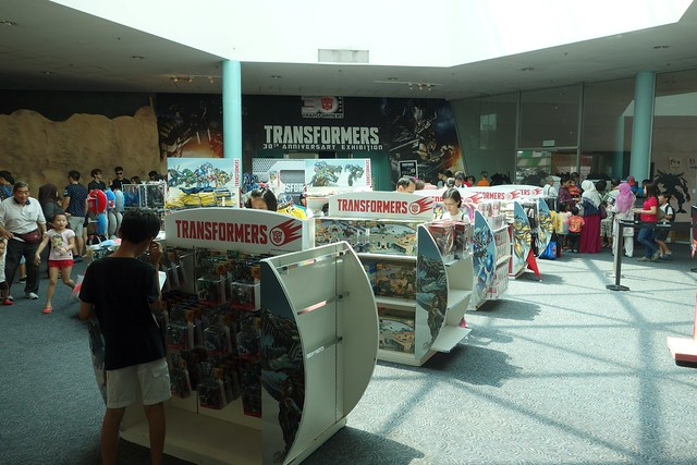 Loads and loads of Transformers merchandise at the entrance!