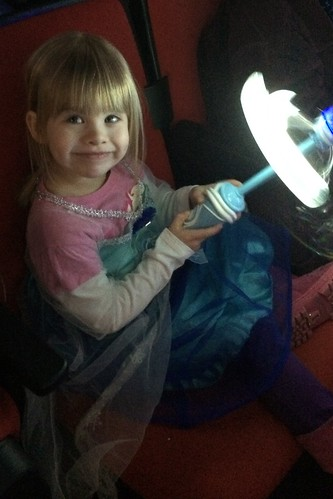 Lucy and her Elsa light-up wand at Disney on Ice