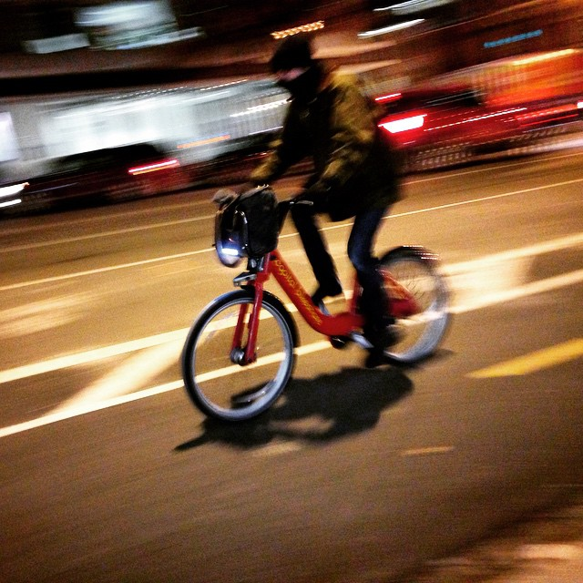 Capital Bikeshare cyclist speeding up 15th St NW #bikedc #igdc