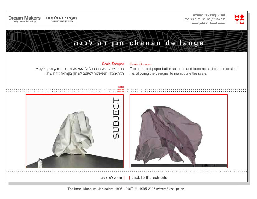 מעצבי החלומות, מוזאון ישראל, 2007. עיצוב: חיה שפר