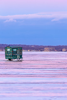 Ice fishing shack in lake Monona, Madison, WI