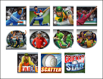free Cricket Star slot game symbols