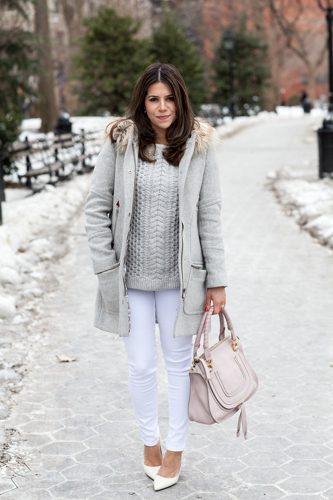 club monaco grey sweater white hudson highwaisted jeans crew parka chloe marcie satchel casual look outfit corporate catwalk DVF bethany white heels white shoes grey coat corporate blogger