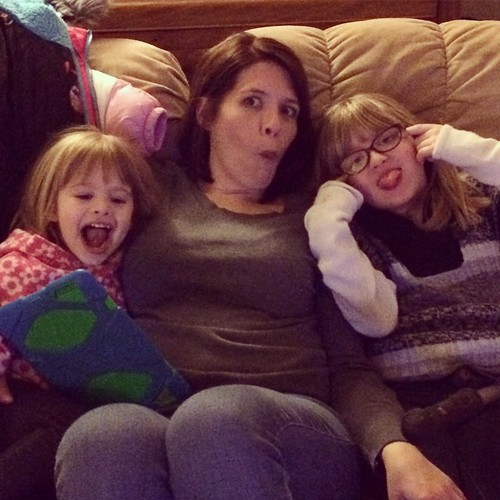 Making silly faces.