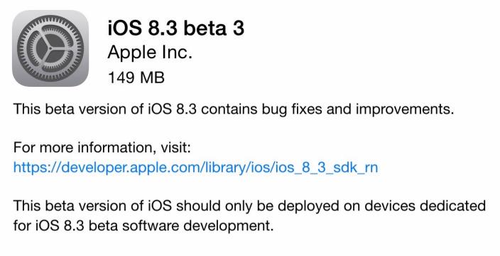 iOS 8.3 BETA disponibil publicului larg, oarecum 139