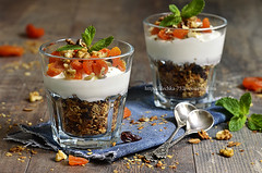 Dessert from granola,yogurt,nuts and dried apricot…