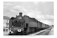 Guingamp. 141-TC-3 & train for Paimpol. 10.7.62