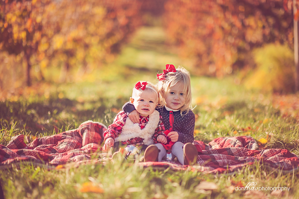 sisters in fall Michigan apple orchard photography