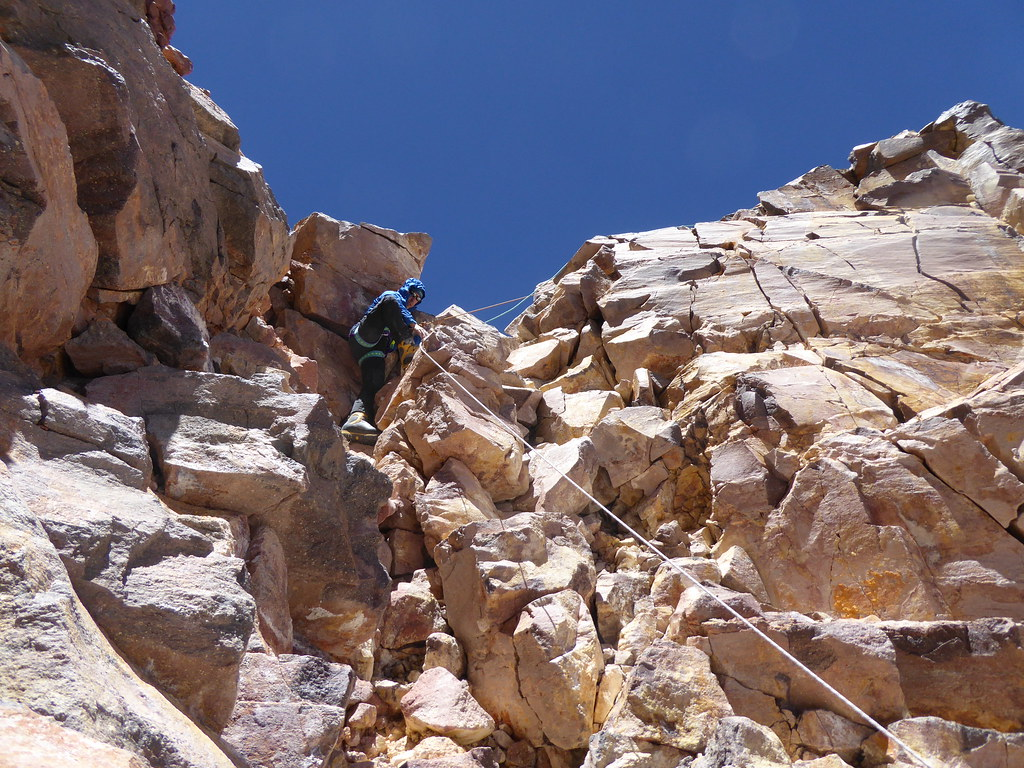 Descending summit block of Ojos del Salado
