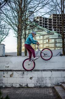 Bike trial riding in Vilnius Lithuania