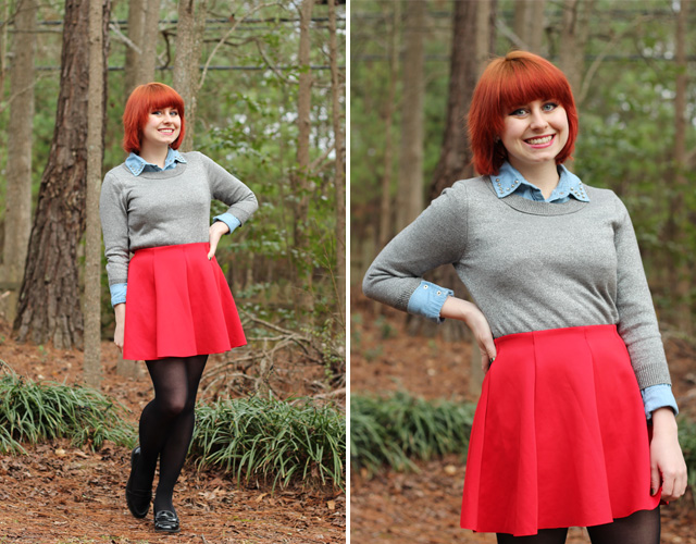 Silver Sweater, Denim Button Down, Red Skater Skirt, and Black Loafers