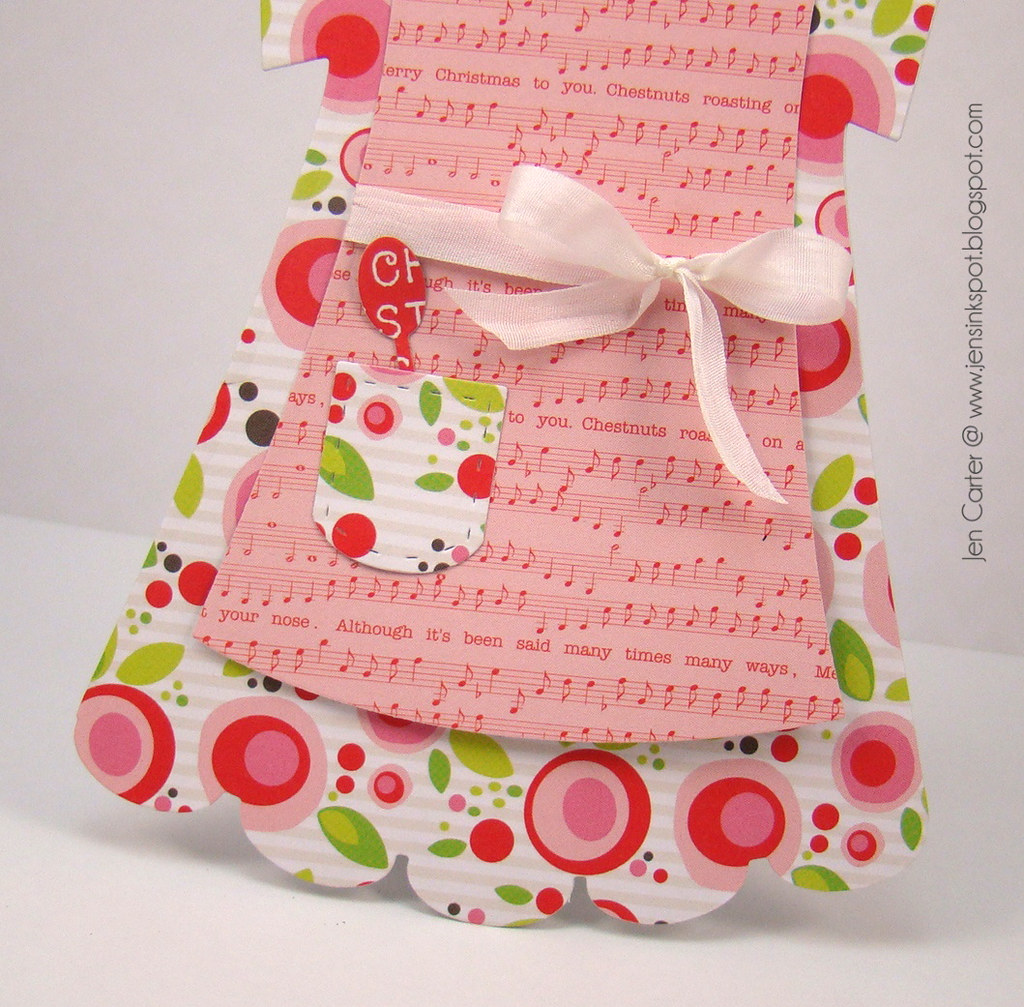 Jen Carter Christmas Apron Dress Card Closeup