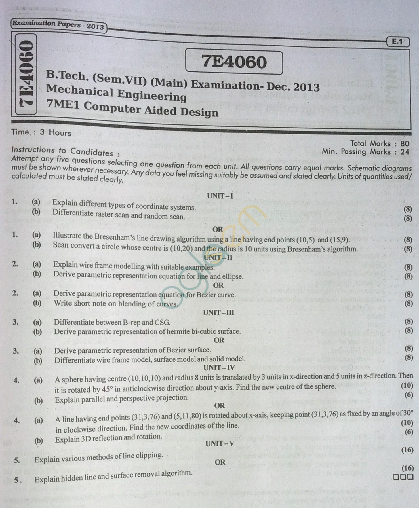 RTU: Question Papers 2013 - 7 Semester - ME - 7E4060