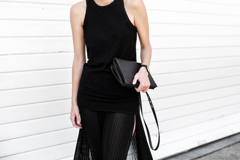 MODERN LEGACY Celine slide sandals all black street style pleated sheer split skirt Bassike tank fashion blog Australia (8 of 13)