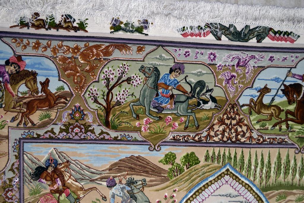 Tabriz 70 Raj - hunting scene Fine 7x10 (13)