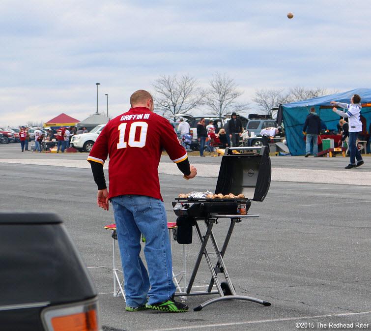 4 washington redskins fans grilling tailgating