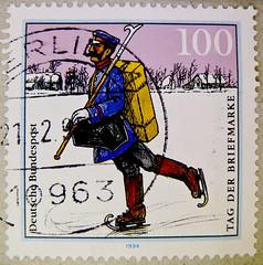great stamp Germany 100pf (postal delivery in winter time; ca. 1900 in Spreewald wetland terrain) timbres Allemagne sellos Alemanha selos Alemania francobolli Germany postzegel 우표 독일 유럽  γραμματόσημα Γερμανία frimerker Tyskland markica Njemačka pullari