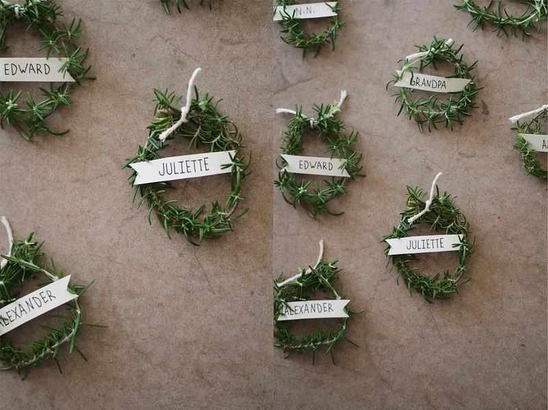 Rosemary Wreath Place Setting at juliettelaura.blogspot.com
