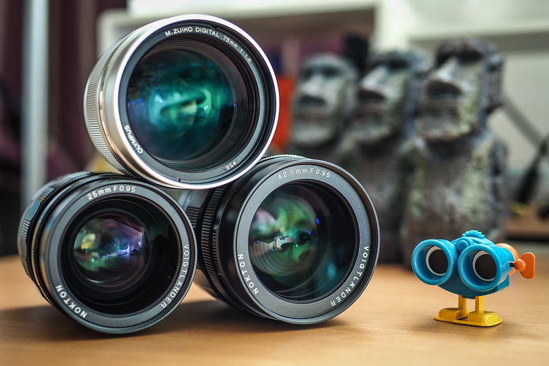 25mm + 42.5mm f/0.95 + OM 75mm|Voigtlander NOKTON